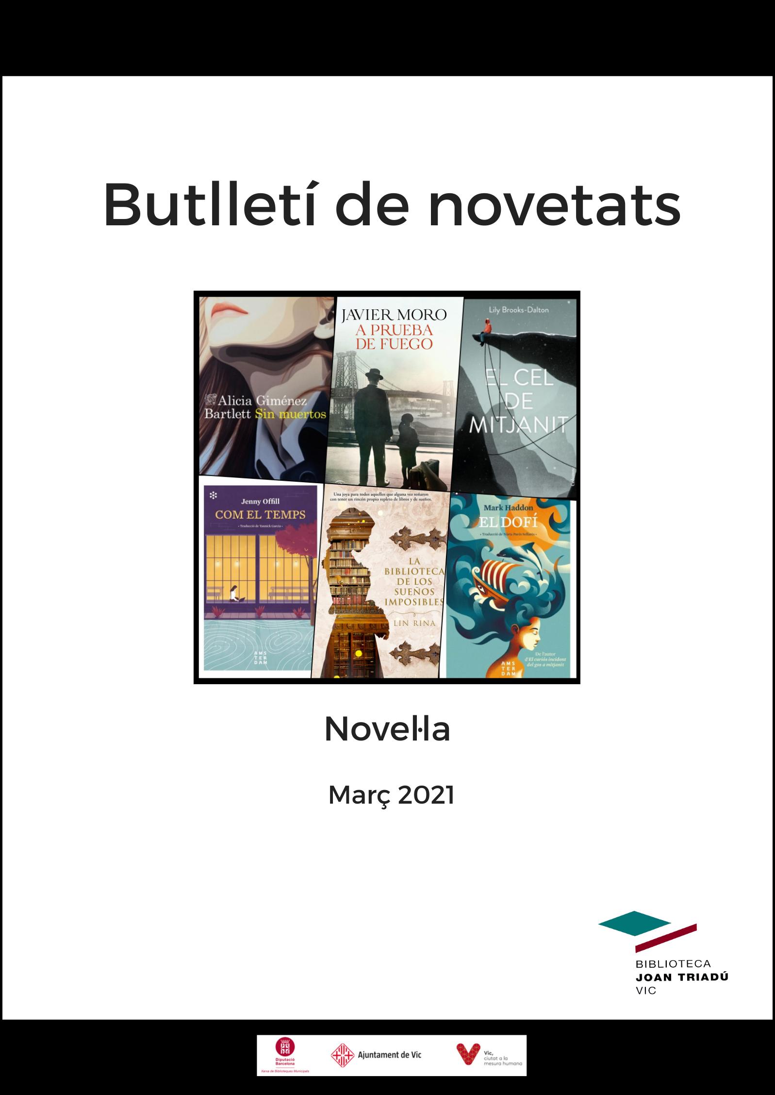 Butlletí de novetats: Novel·les Març 2021